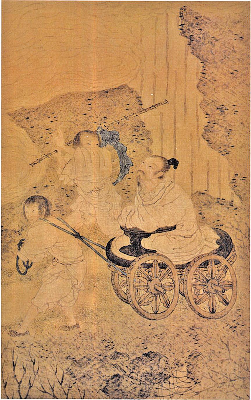 明崔子忠繪《藏雲圖》(局部),絹本設色,北京故宮博物院藏,描繪李白盤腿端坐盤車上,緩緩行於山路上,仰首凝視頭頂上的雲氣(公有領域)