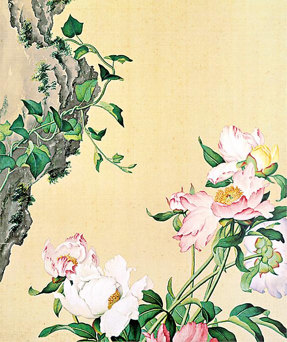 清‧郎世寧《仙萼長春圖冊-芍藥圖》(台北國立故宮博物院藏)
