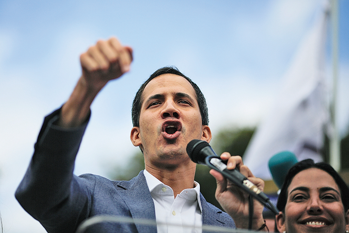 委內瑞拉反對派領導人瓜伊多在26日的一次群眾抗議馬杜羅政府活動上講話。(Getty Images)