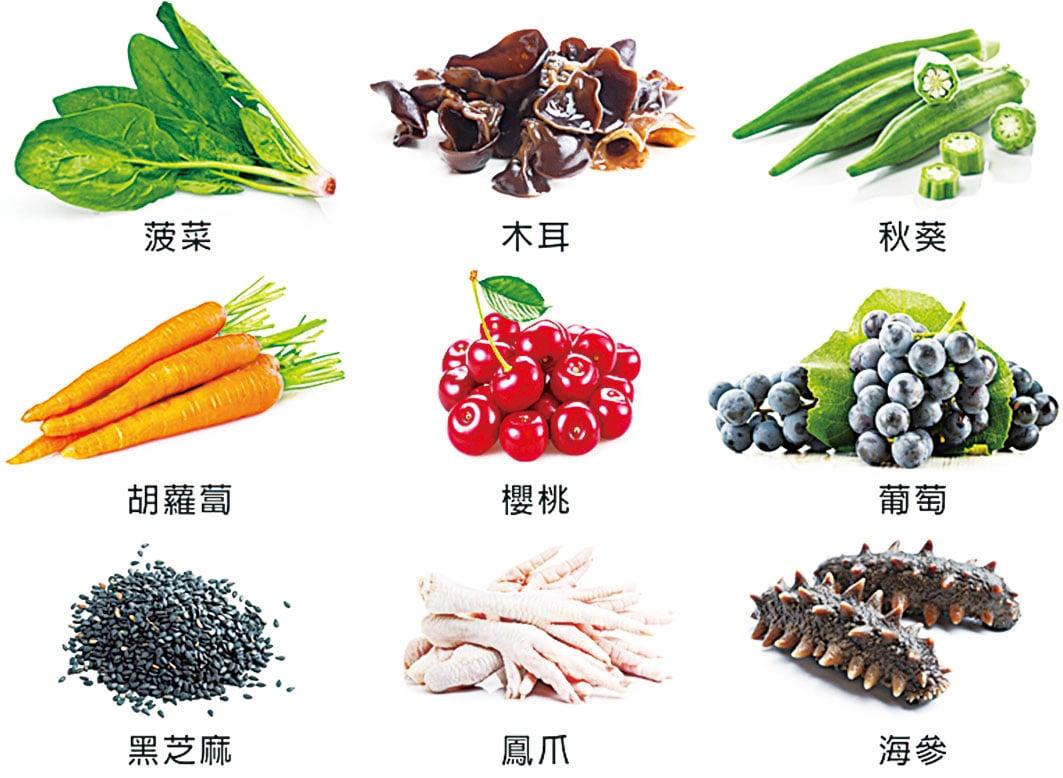 改善冬季皮膚痕癢的「滋陰養血潤燥」食物。(大紀元製圖)