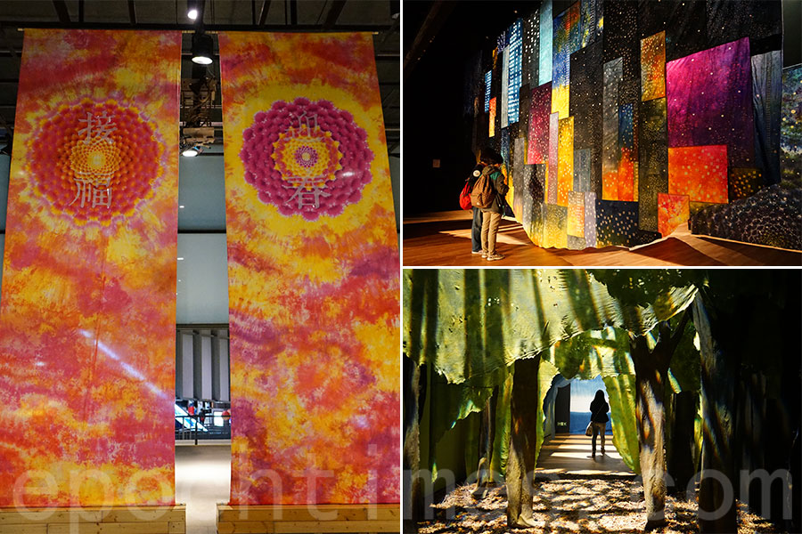 左:配合新年喜慶主題,「巨人染」亦首度以紮染技藝配以中國傳統圖案,製作出系列新春特別版紮染作品裝飾青年廣場;右上:以香港夜景為主題的「城市光影」展區;右下:「穿越森林」展區,由20層布幔組成,加入早前被颱風吹倒的木材作展品元素,模擬陽光穿過森林營造出自然氣氛。(曾蓮/大紀元)