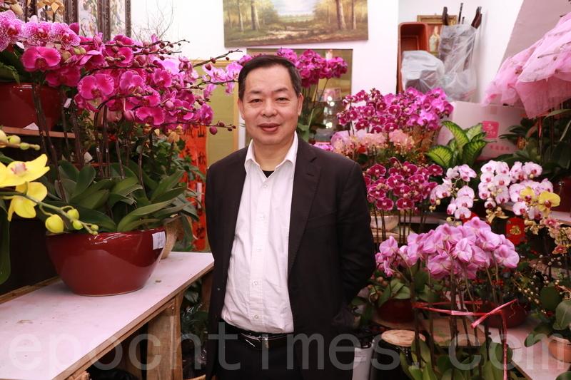 香港鮮花盆栽批發商會主席賴榮春認為,蝴蝶蘭仍然是市民首選的年花。又指今年雖然市道不明朗,但很多市民都認為年花是必需品。(陳仲明/大紀元)