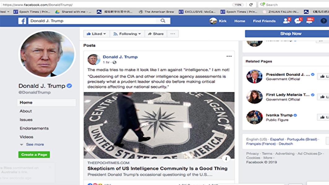 特朗普在臉書上轉發英文大紀元專欄文章。(特朗普臉書截圖)