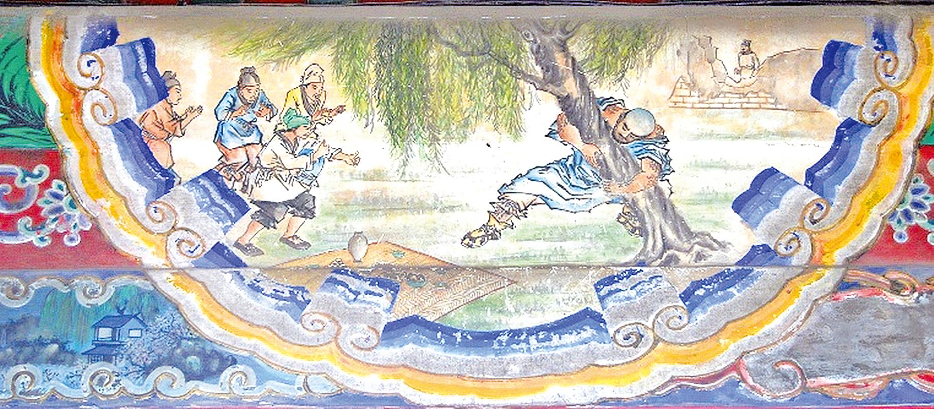 頤和園長廊彩繪:魯智深倒拔垂楊柳(公有領域)