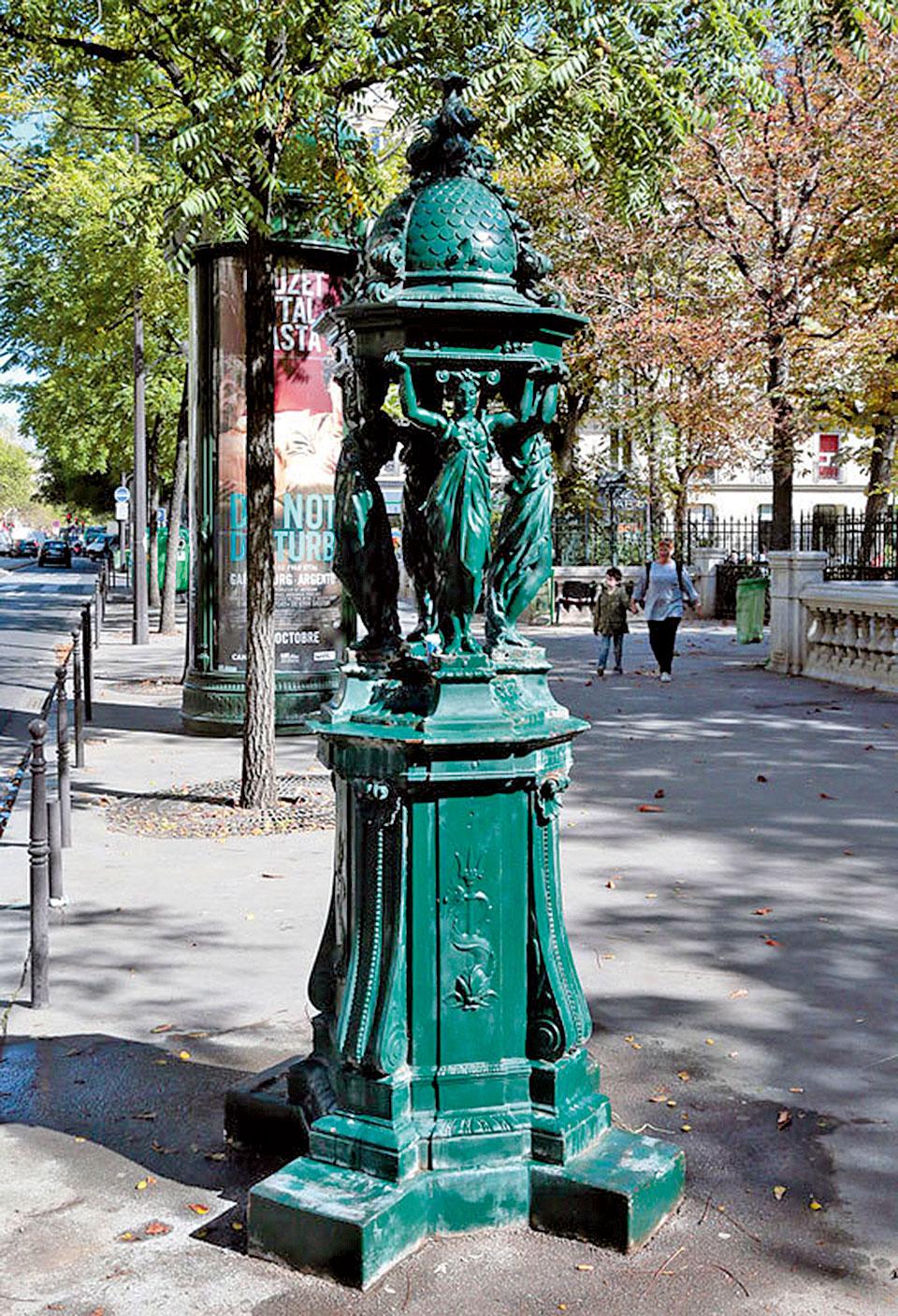 巴黎街頭的華萊士噴泉,仿自希臘藝術的女像柱是最大特徵,充滿古典氣質。(AFP)