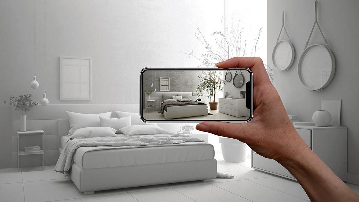 通過AR軟件,用戶可以將數碼家具或設計圖紙,變為立體實物,並放進自己的房間裏,看看是否適合。(Shutterstock)