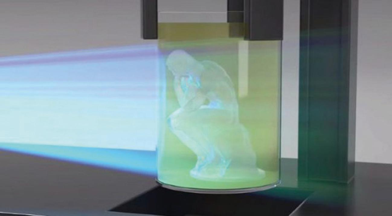 加州大學的研究者從掃瞄儀獲得靈感,造出一種一次性成型的複製設備,僅花了2分鐘時間,就複製出一個羅丹的「思考者」雕像。(University of California)