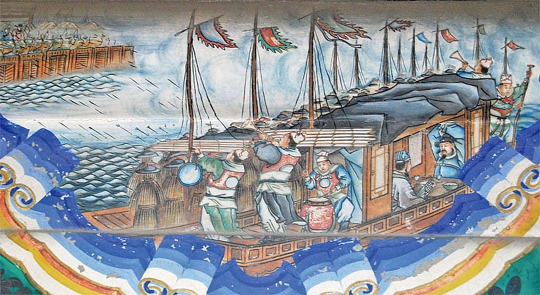 諸葛亮草船借箭、借東風等的事跡出現在戲曲之中,千秋傳唱。(Shizhao/維基百科)