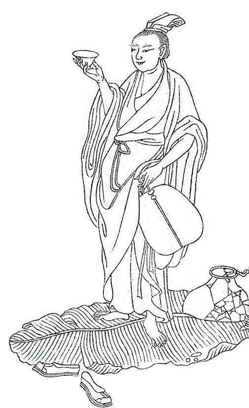 王勃在滕王閣開宴前一天,還在遠離南昌八、九百里水路的地方,然而當晚吹起大風,將王勃一夜之間送到滕王閣以赴盛會。(公有領域)