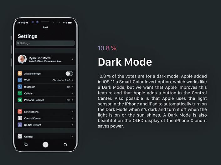 黑暗模式對於OLED屏幕更具實用意義,因為OLED屏幕呈現黑色時是不發光狀態,理論上開啟此模式會更加省電。(視頻截圖)