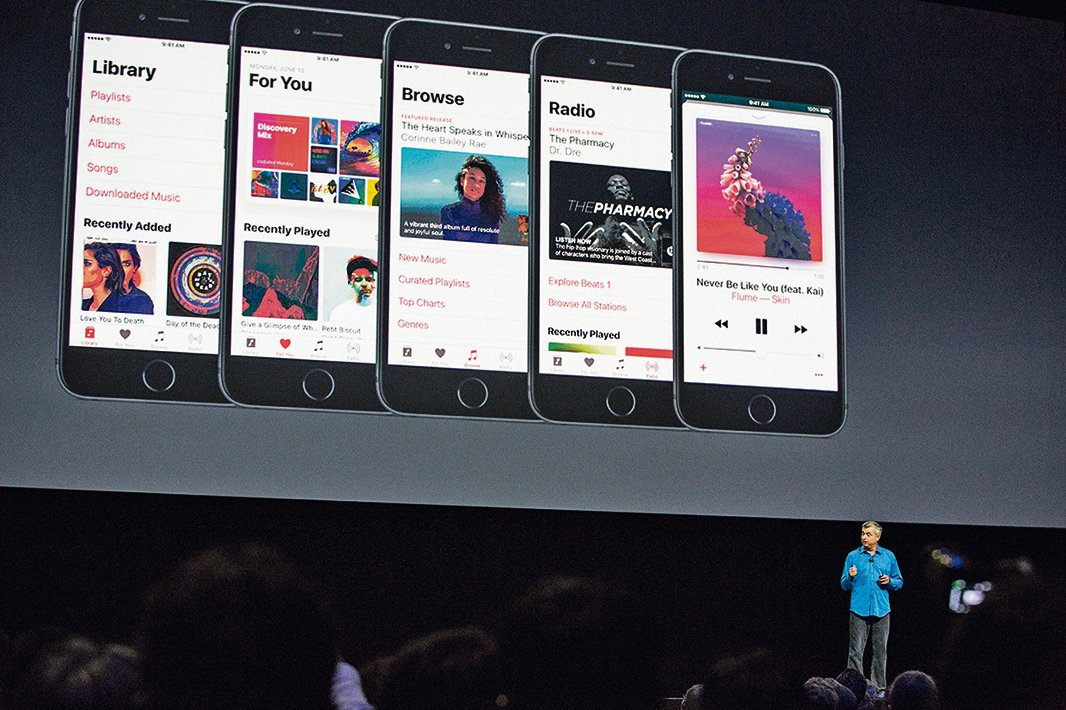 2016年11月舉辦的iOS 10發佈會現場。(Andrew Burton/Getty Images)