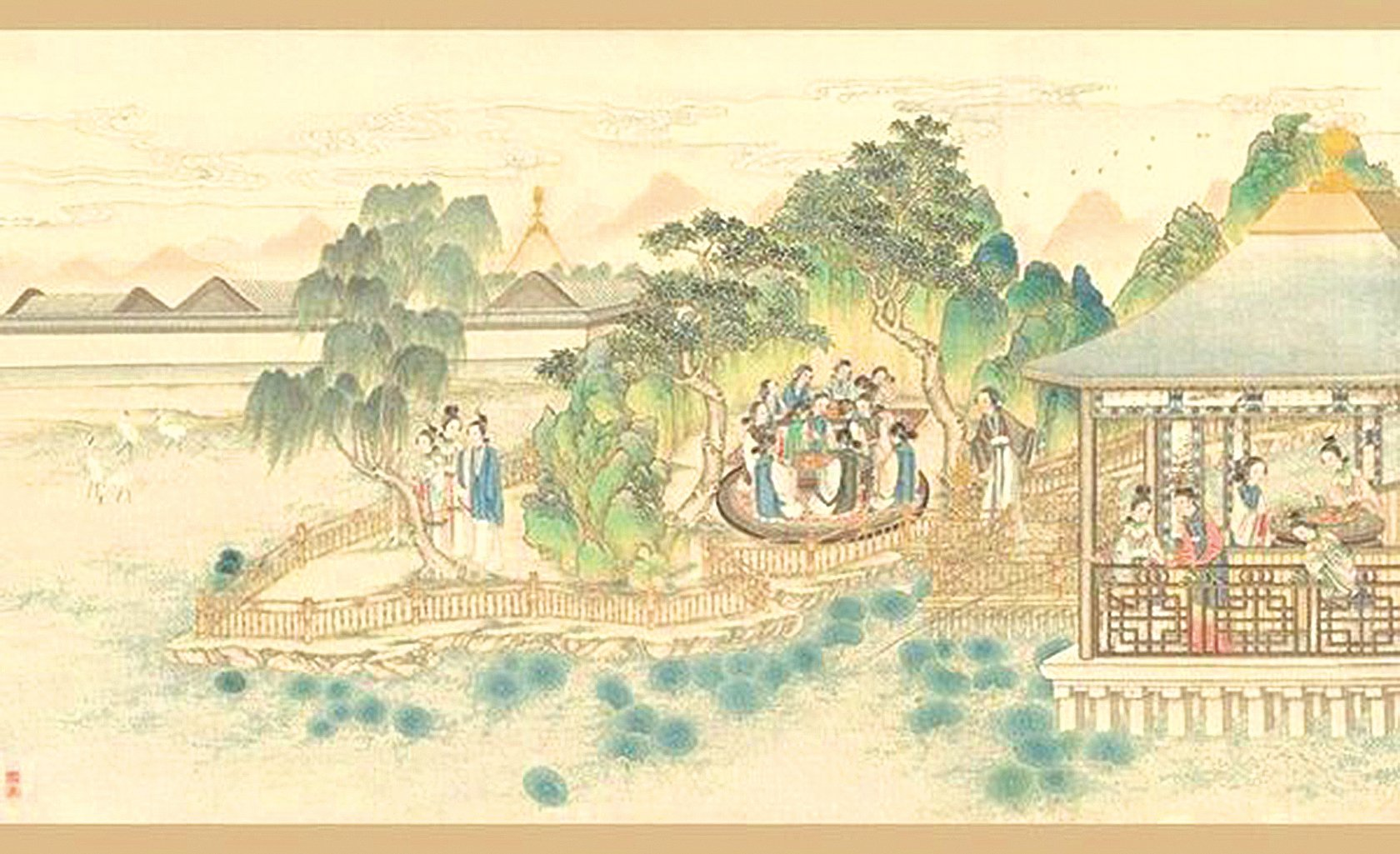 清朝孫溫所繪《紅樓夢》第38回(圖片:wikimedia commons/SOH合成)