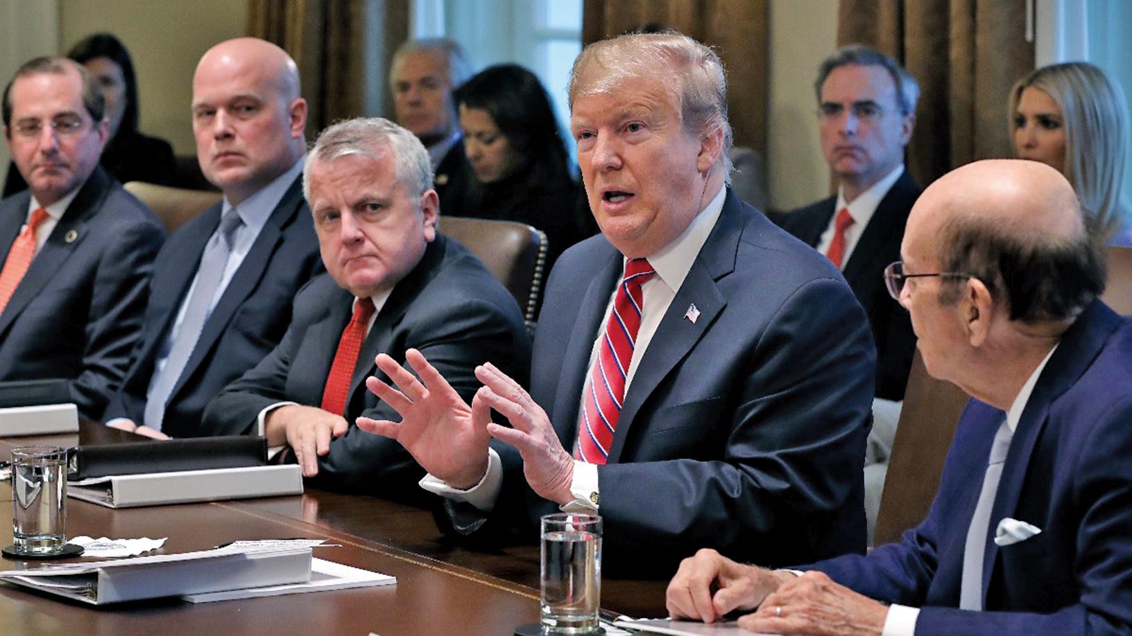 2019年2月12日,美國總統特朗普在白宮召開內閣會議。(Getty Images)