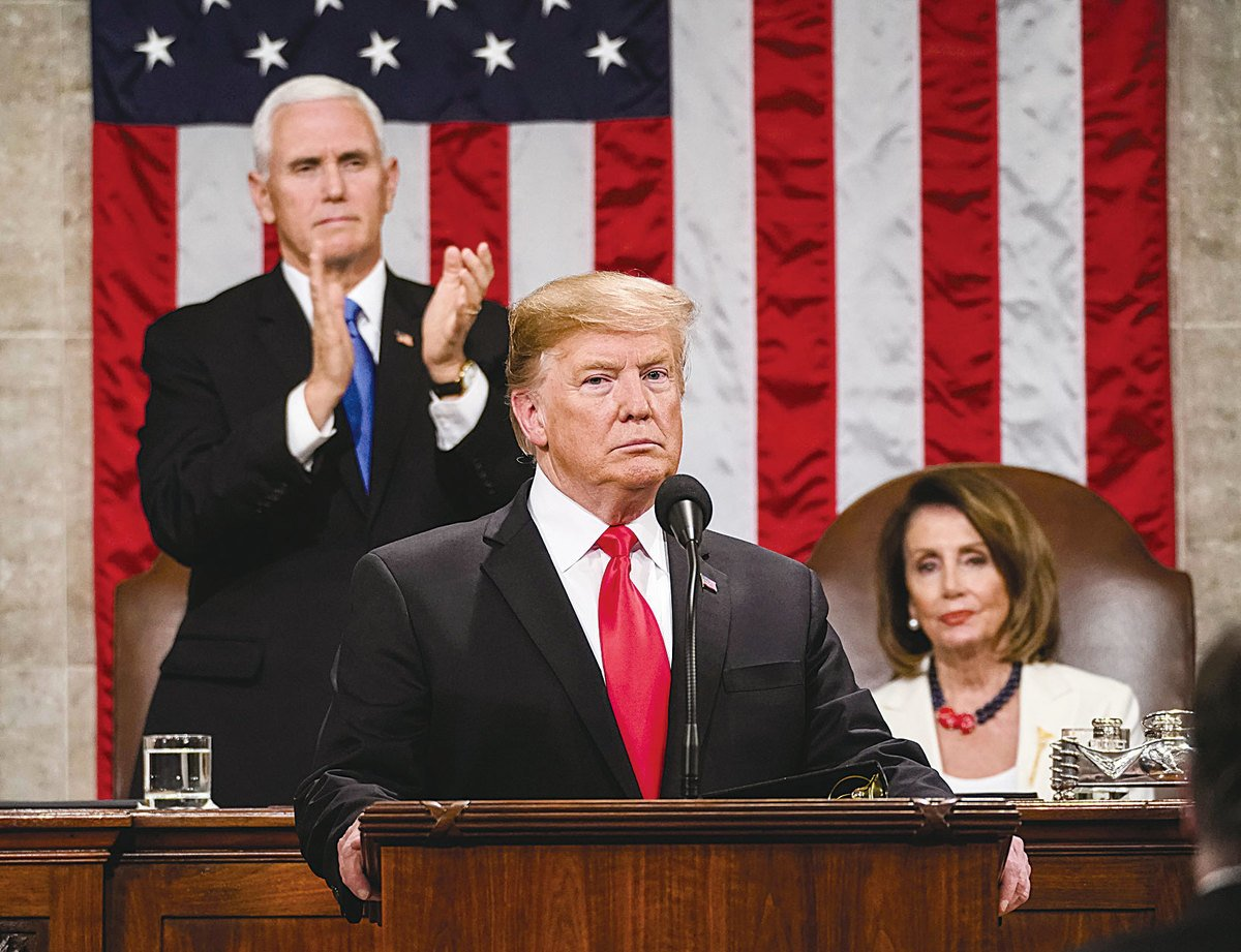 特朗普在2月5日的國情咨文中強調,美國絕對不會走向社會主義。(Doug Mills / The New York Times POOL PHOTO)