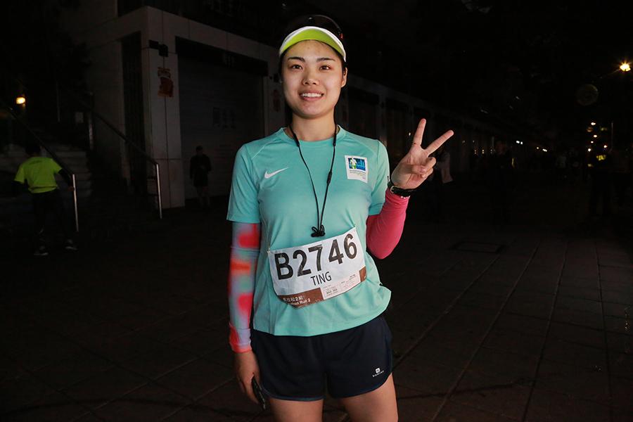 成都龔小姐稱,今年目標是5小時內完成賽事,但香港號稱「亞洲最虐」賽道,還是稍微有點怛惕。她會順道來打九價子宮頸癌疫苗,因為在大陸疫苗比較短缺。(陳仲明/大紀元)