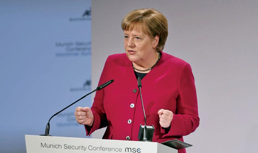 德國總理默克爾於慕尼黑安全會議(MSC)上發表講話,要求中國必須參與核裁軍。(Getty Images)