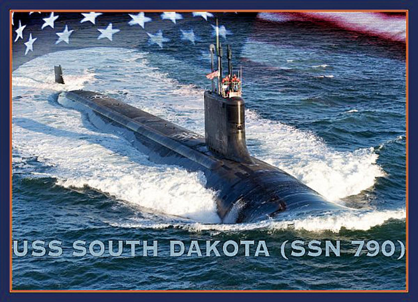 美國海軍攻擊潛艦南達科他號(USS South Dakota)在2019年2月2日舉行正式服役典禮。圖為藝術家所呈現的示意圖。(Stan Bailey/U.S. Navy)