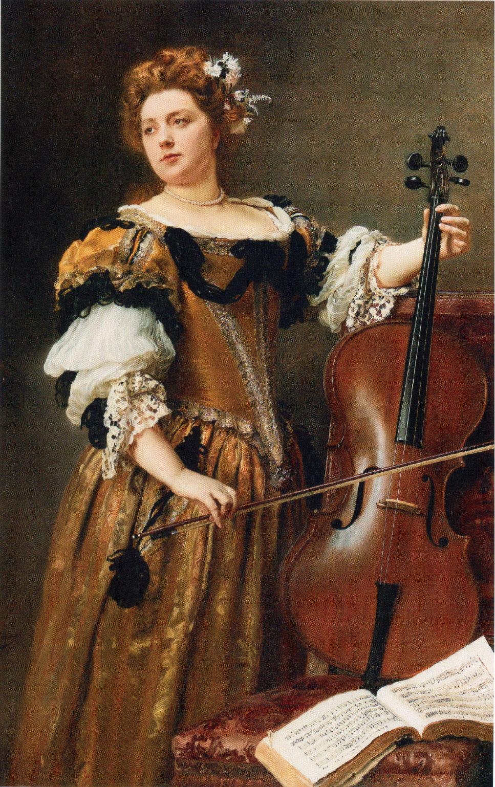 居斯塔夫雅凱 《大提琴手》(The Cello Player),布面油畫,150 × 95 cm。