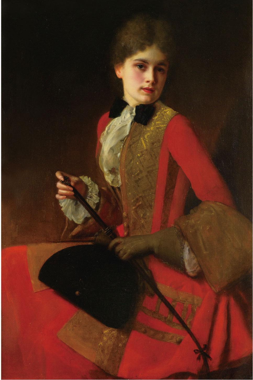 《身著騎馬裝的女孩》(Girl in a Red Riding Habit,局部),118 x 76 cm,布面油畫。