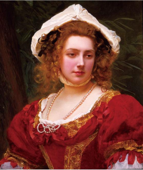 居斯塔夫·讓·雅凱,《紅衣少女》(Young Girl with Red Dress),118 x 76 cm,布面油畫。