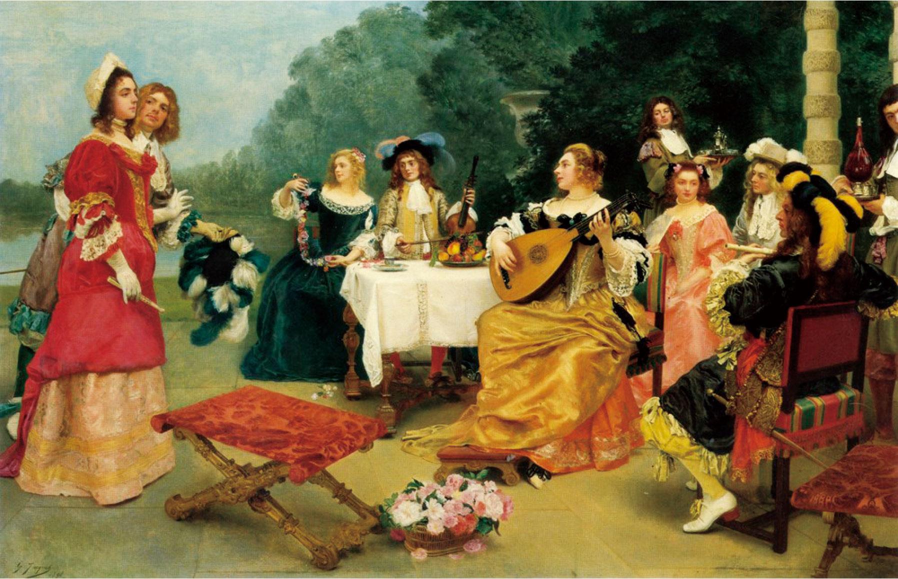 居斯塔夫雅凱,《演奏會》(The Recital),1898年作,布面油畫,99 × 124 cm。