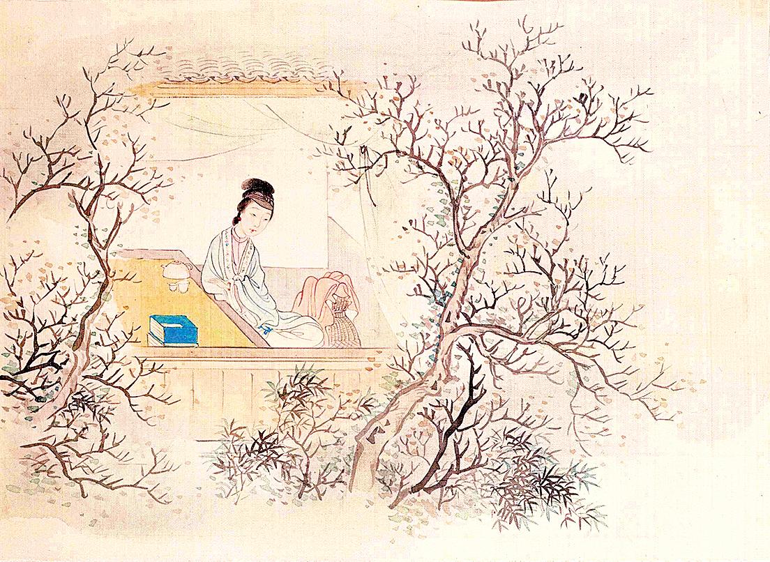 妙玉像,清費丹旭繪<十二金釵圖冊>,絹本設色,北京故宮博物院藏(公有領域)