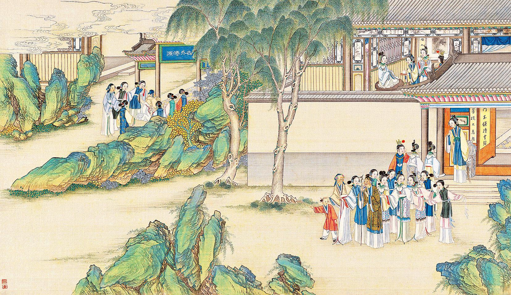 寶玉品茶櫳翠庵,清孫溫繪〈紅樓夢〉第41回插圖(公有領域)