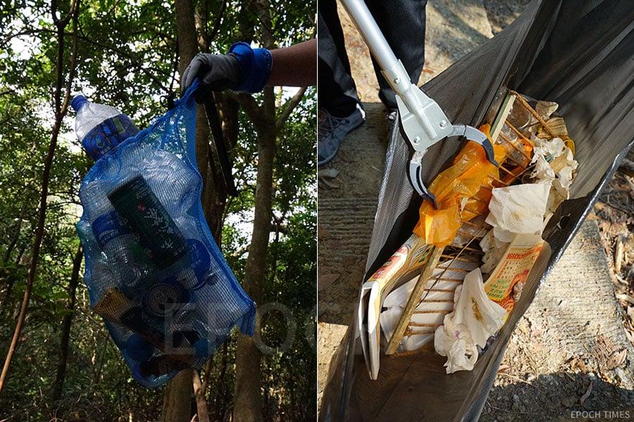 「清徑先鋒」義工常常在清潔郊野時執到各式各樣的垃圾。(曾蓮/大紀元)