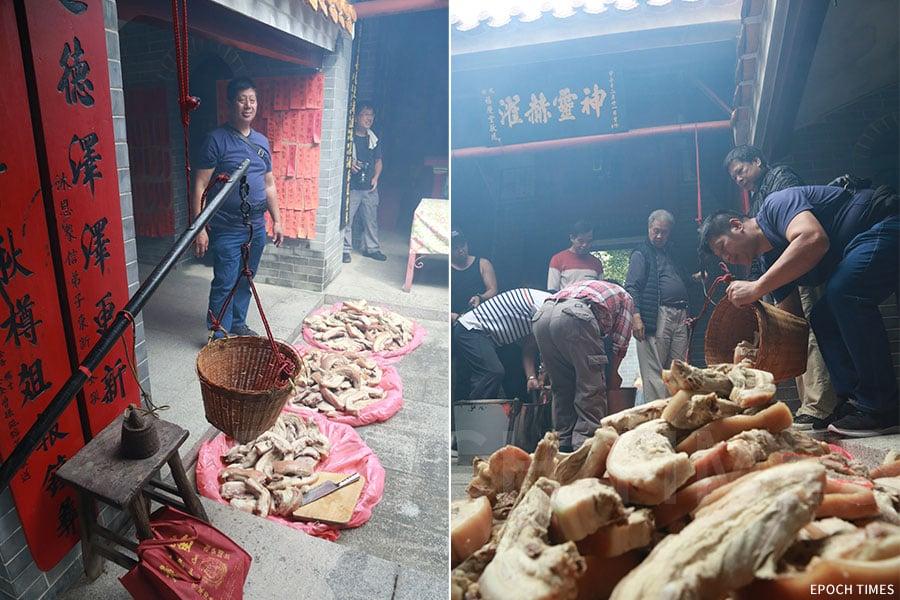 左:東頭約大王廟內有一把傳統的大秤;右:村民把收集到的豬肉用籮筐盛載。(陳仲明/大紀元)