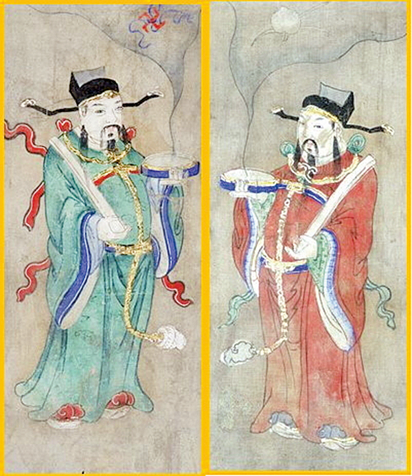 貼門神畫,辟邪納福。圖:《福壽文門神》絹本設色。國立故宮博物院藏(公有領域)