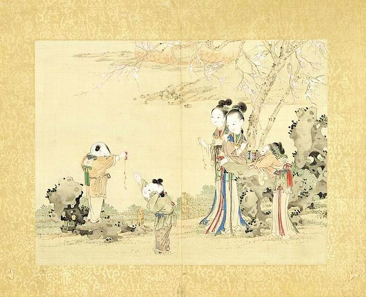 一年容易,話傳統年俗賀豬年圖:昇平樂事圖冊‧放鞭炮!台北國立故宮博物院藏(公有領域)