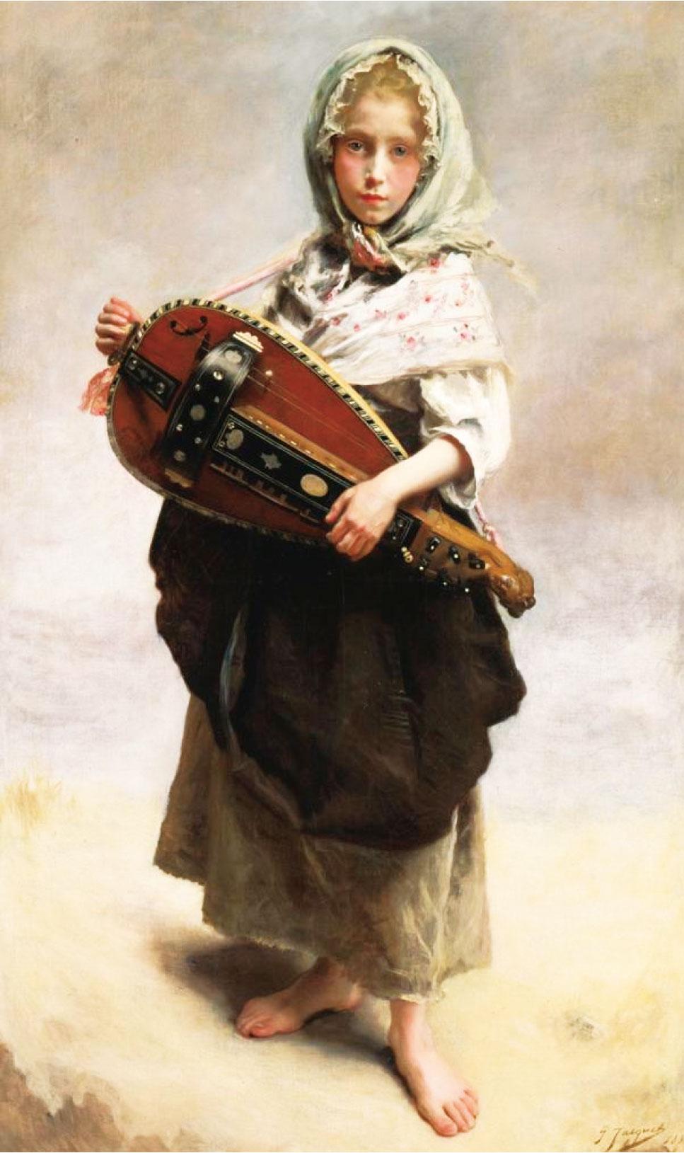 居斯塔夫讓雅凱,《遊吟女孩》(Girl Minstrel),1881年作,布面油畫,145 × 79 cm,克萊斯勒藝術博物館藏。