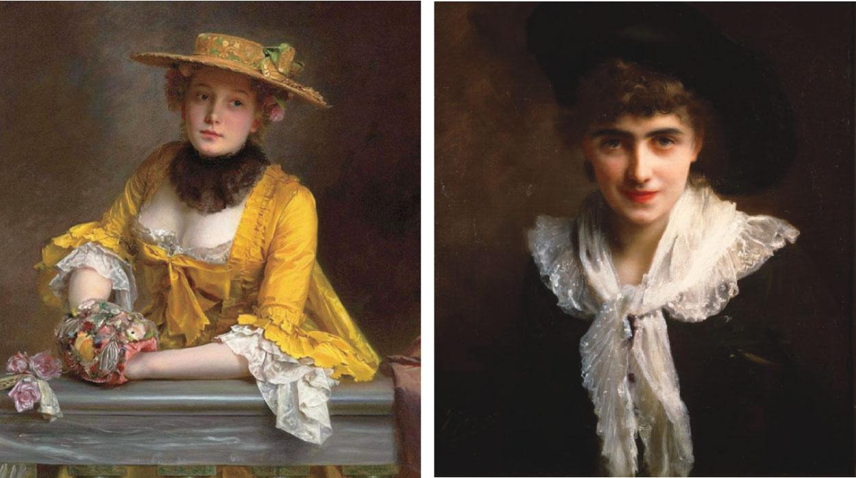 (左)居斯塔夫讓雅凱人物肖像。(右)居斯塔夫讓雅凱,《羅蘭夫人像》(Portrait of Madame Roland),布面油畫,61 × 46 cm,私人收藏。