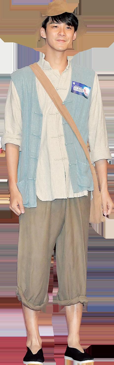 余德丞(Dickson)最難忘穿上單薄戲服拍戲,要貼8個暖包保暖。(郭威利/大紀元)