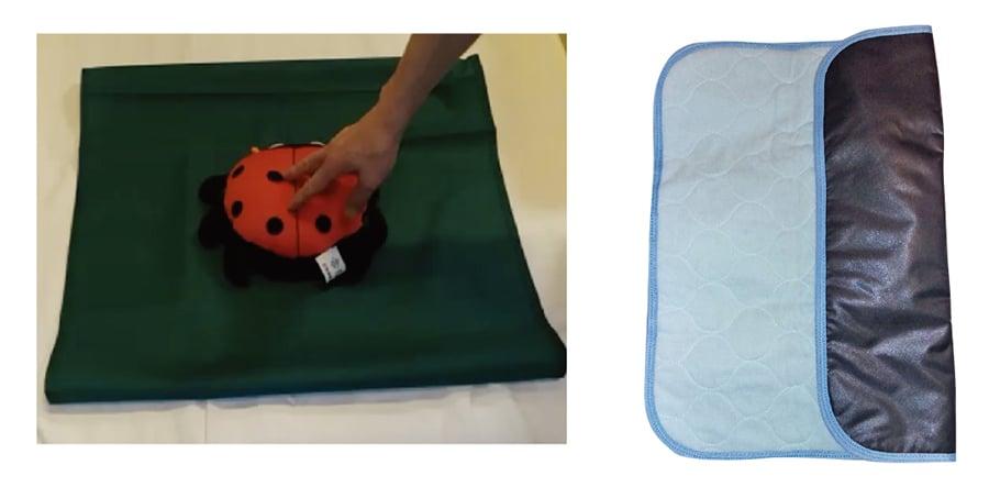 「捲桶前後移動布」(左)和「吸水防滑座墊」(右)同樣為切合專業醫療護理而設計,讓用家更舒適和方便移動。