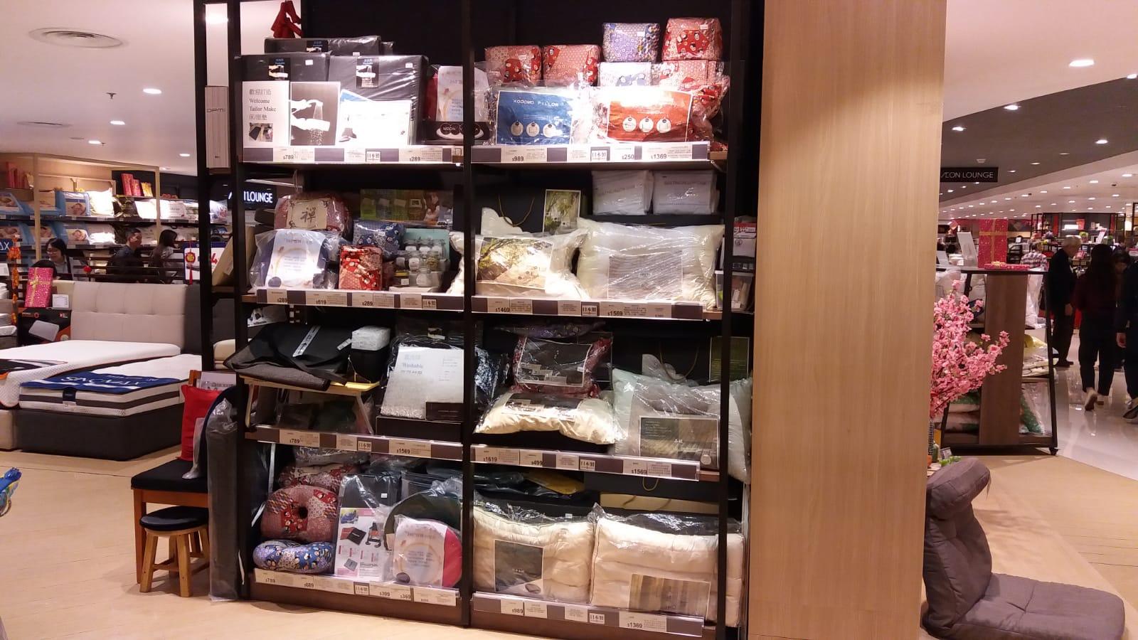 日本製Moon Viella枕頭系列,在香港Aeon Style百貨康怡店、裕華國貨等設有專櫃。