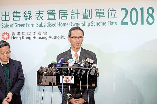 房委會資助房屋小組主席黃遠輝指,今期綠置居超額認購近16倍,但暫未決定推出下期綠置居。(宋碧龍/大紀元)
