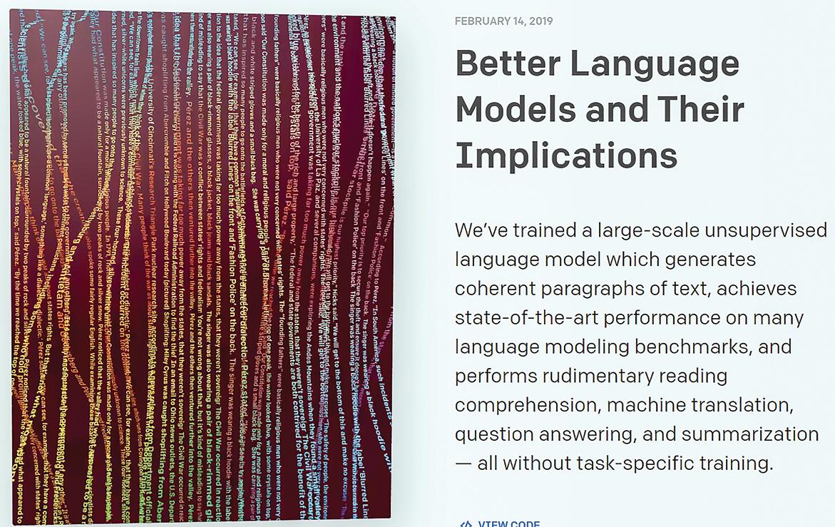 非營利人工智能研究公司OpenAI的語言模型被認為好到了「可怕」的程度。(網頁截圖)