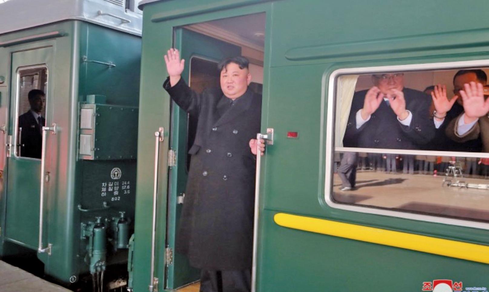 金正恩2月23日下午乘坐專用列車離開平壤,擬前往越南與美國總統特朗普舉行第二次會晤。(朝中社)