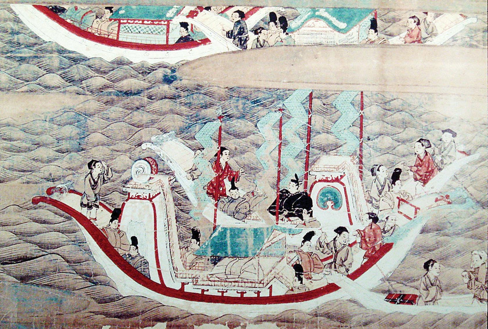《東征傳繪卷》描繪的日本遣唐使乘船赴唐的景象。(PHGCOM/維基百科公有領域)