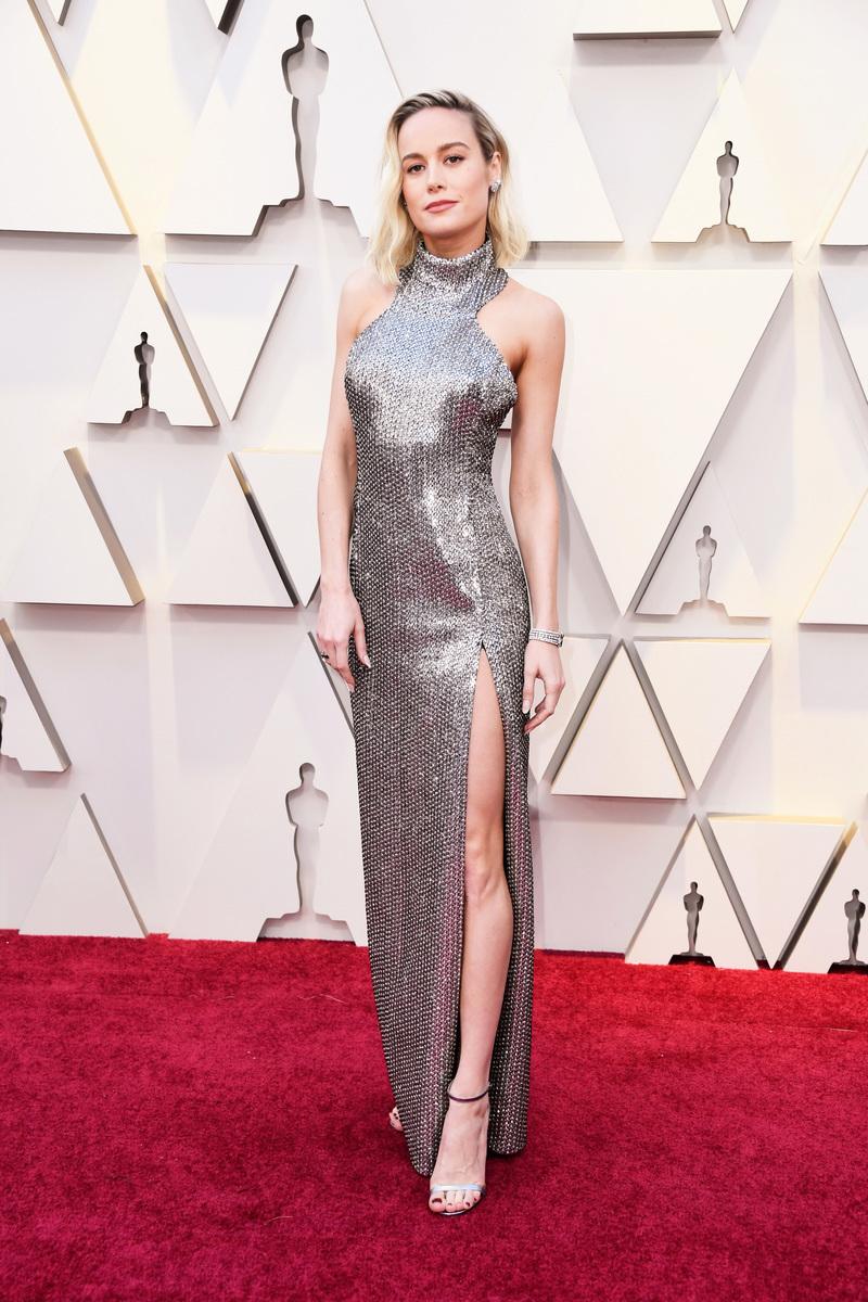 前奧斯卡影后貝兒娜森(Brie Larson)現身紅地毯。(Frazer Harrison/Getty Images)