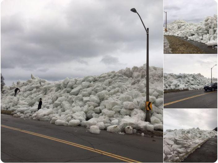強風襲擊美東 60萬戶斷電 出現冰海嘯。( Twitter 截圖)