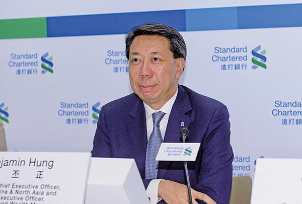 渣打銀行大中華及北亞地區行政總裁洪丕正指,集團主要開支來自新投資項目。(宋碧龍/大紀元)