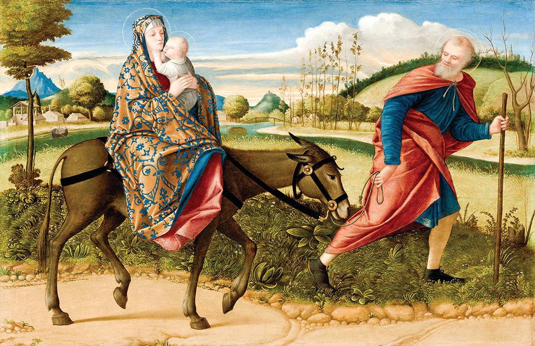 [意]卡帕喬,《逃亡埃及》,板上油畫,約作於1515年,華盛頓國家畫廊藏。(公有領域)