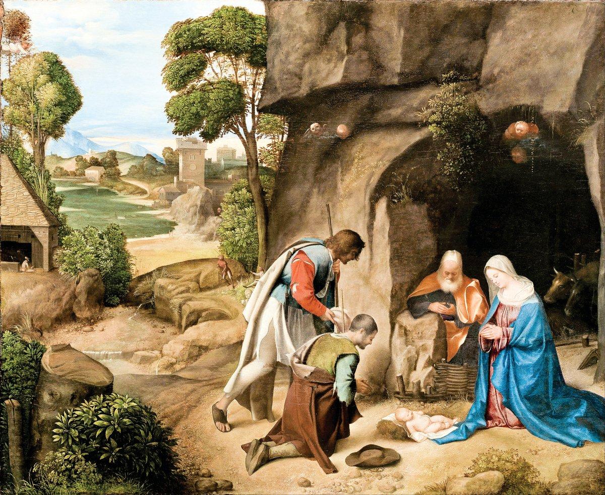 [意]喬爾喬內,《牧人來拜》,板上油畫,作於1505~1510年,華盛頓國家畫廊藏。(公有領域)