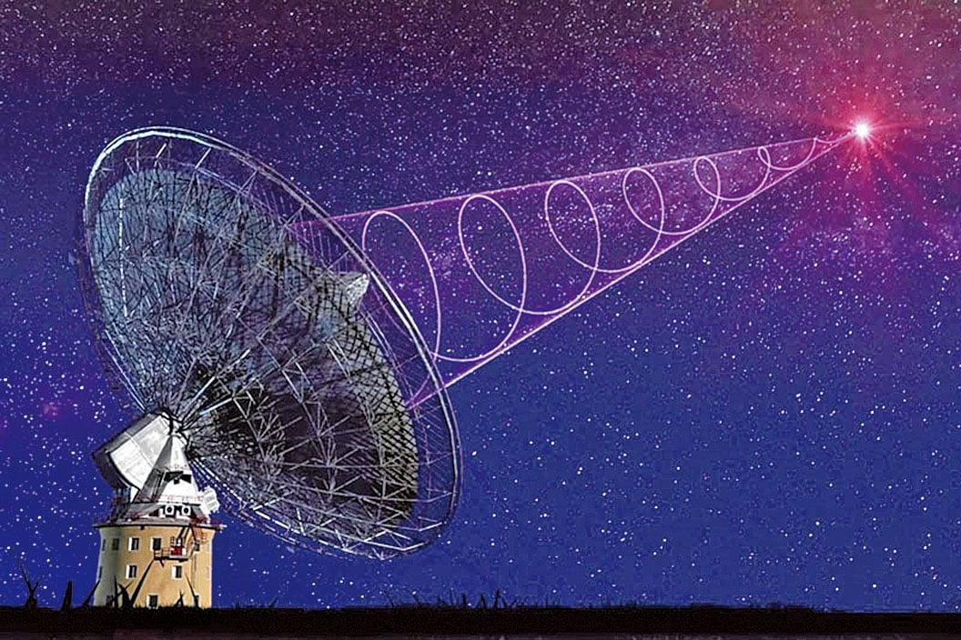 帕克斯射電望遠鏡接收到「快速射電暴」的模式圖。(影片截圖)