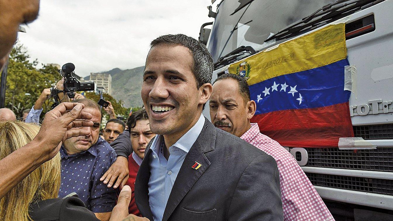 委內瑞拉臨時總統瓜伊多繼續拉丁美洲多國訪問行程,爭取支持。(AFP)