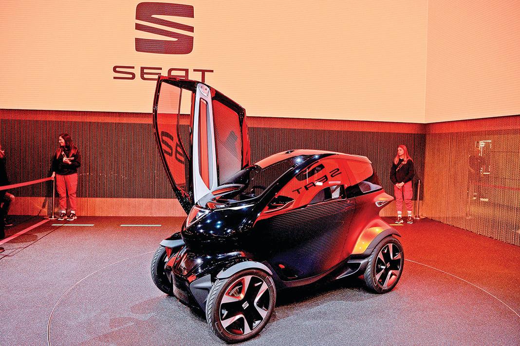 西雅特汽車在MWC上展示的5G概念車Minimo。(AFP)