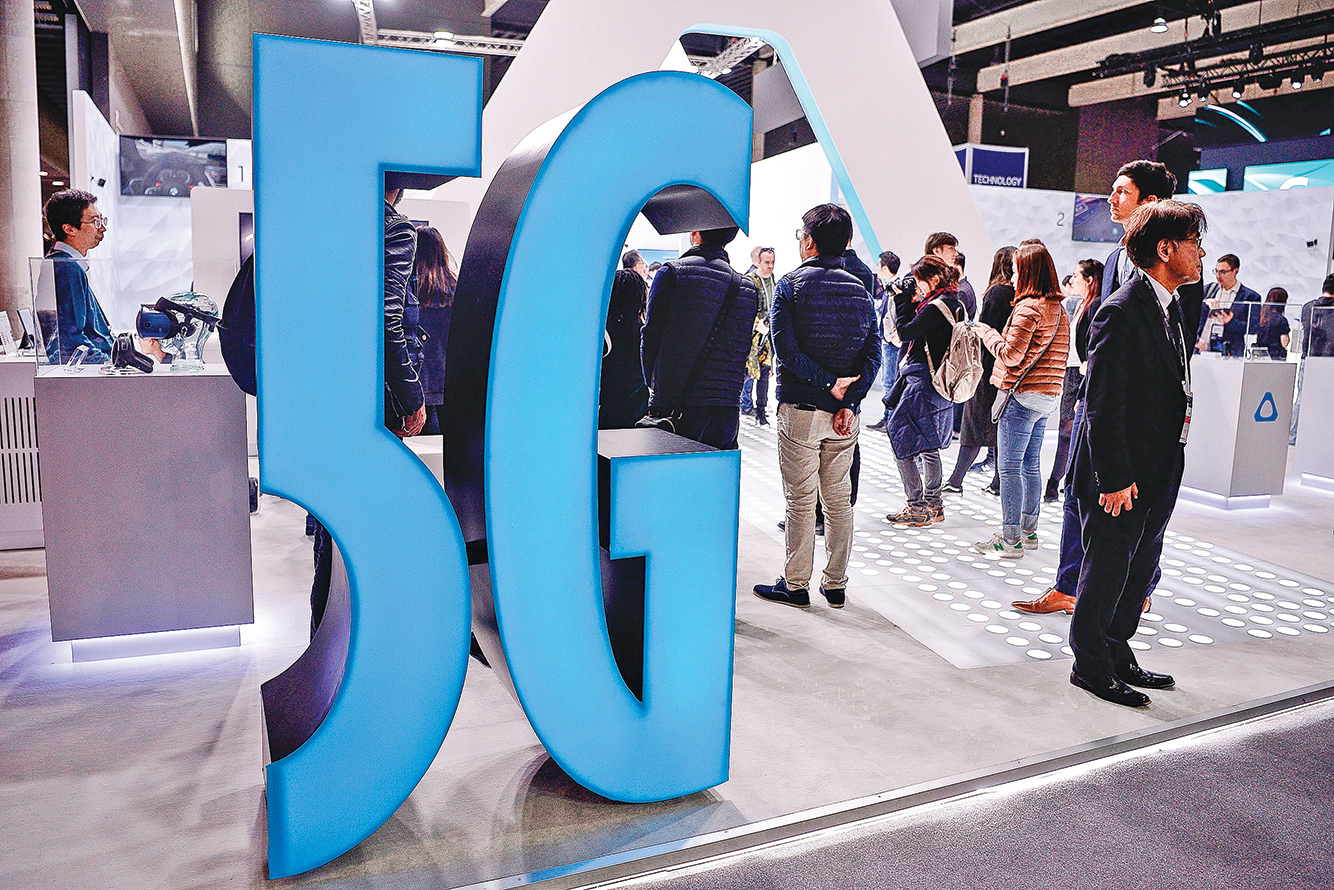 5G無疑是今年全球移動通訊大會最大的主題。(AFP)