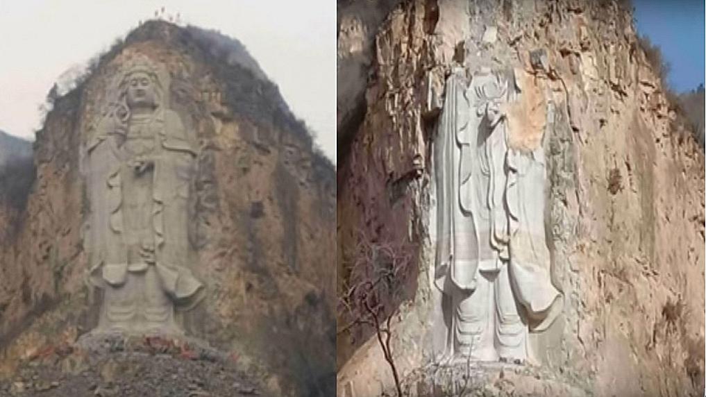 中國河北石家莊,一座高達57.9米的石刻立式觀音像,在2月2日,被中共以爆破方式強拆摧毀。(影片截圖)